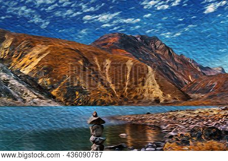 Rocky Mountains And Deep Valleys With Lake At The Himalaya Ridge. The World Largest And Highest Moun
