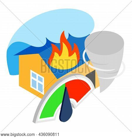 Natural Disaster Icon Isometric Vector. Burning House Tsunami Tornado, Indicator. Insurance Event, D