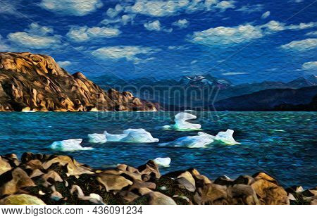 Hilly Landscape And Lake With Floating Pieces Of Ice In Torres Del Paine. A Park Full Of Peaks And L