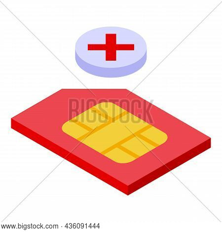 Phone Sim Card Icon Isometric Vector. Mobile Cellphone. Smart Telephone