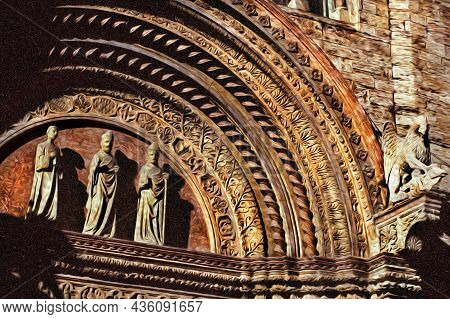 Statues Illustrating Theological Themes On The Main Entrance Of A Church In Perugia. A City Famous F