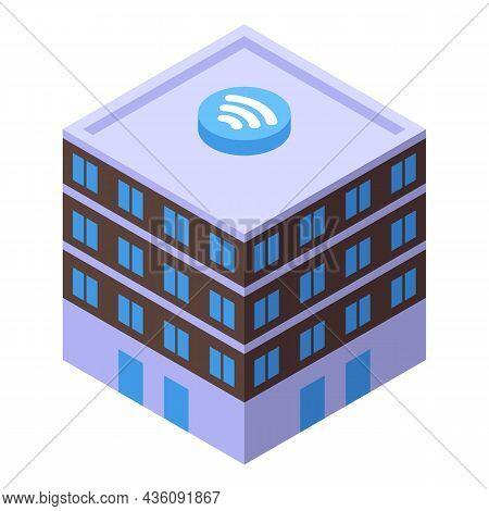 Internet Provider Building Icon Isometric Vector. Wifi Service. Network Call