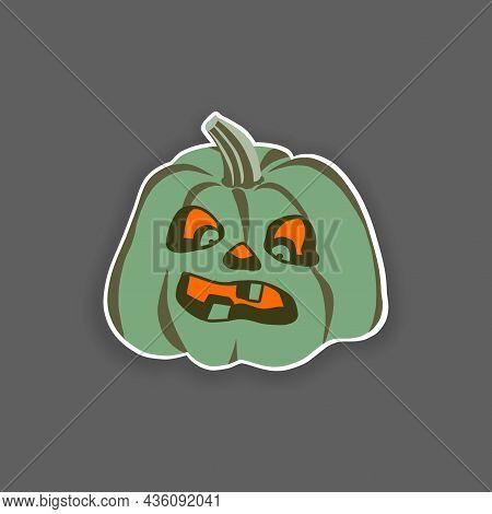 Isolated Green Pumpkin, Fanny Face. Halloween Illustration