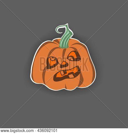 Isolated Yellow Pumpkin, Funny Face, Halloween Illustration