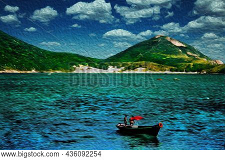 Small Fishing Boat Sailing On The Sea, Near The Beach Of Arraial Do Cabo. In A Brazilian Region Of S