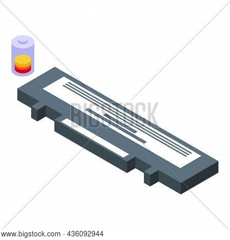 Repair Laptop Battery Icon Isometric Vector. Computer Service. Fix Device