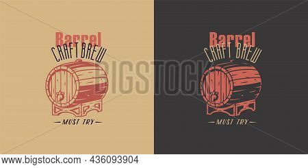 Beer Barrel For Bar. Design With Keg For Brewery