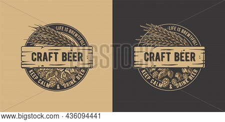 Craft Beer Barley And Hop For Bar. Original Brew Design With Barleys And Hops For Pab Or Brewery