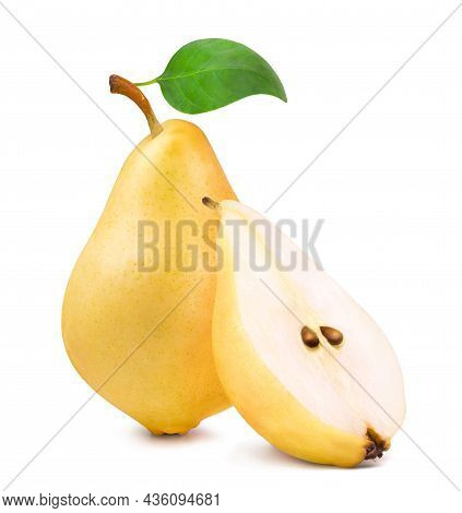 Ripe Yellow Pear And Pear Slice Isolated On White Background.