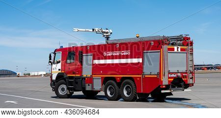 May 11, 2021 Moscow, Russia. A Fire Truck On The Airfield Of The Sheremetyevo Airport In Moscow.