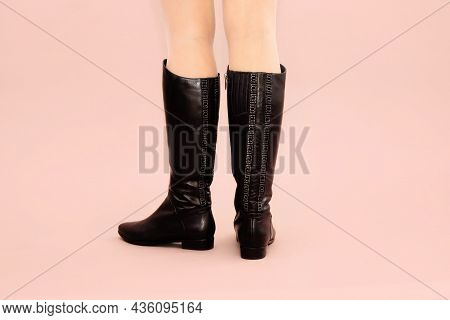 Black Long Autumn Winter Leather Boots With Line Of Rhinestones And Low Heels And Caucasian Woman Le