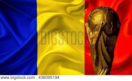 October 6, 2021 Bucharest, Romania. Fifa World Cup Cup Against The Background Of The Flag Of Romania