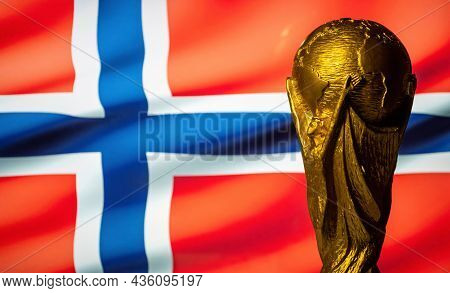 October 6, 2021, Oslo, Norway. Fifa World Cup On The Background Of The Flag Of Norway.