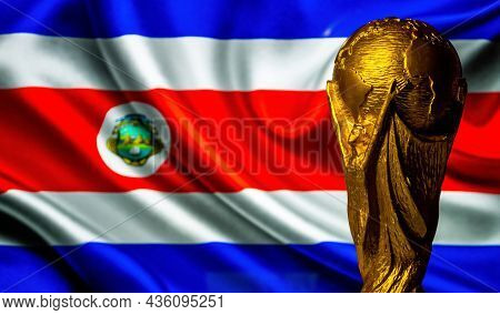 October 6, 2021, San Jose, Costa Rica. Fifa World Cup Against The Background Of The Flag Of Costa Ri
