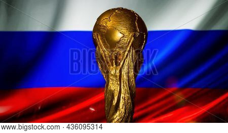 October 6, 2021 Moscow, Russia. Fifa World Cup Cup On The Background Of The Russian Flag.