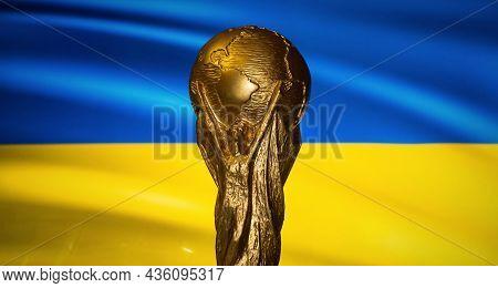 October 6, 2021, Kiev, Ukraine. Fifa World Cup On The Background Of The Flag Of Ukraine.