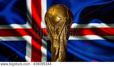 October 6, 2021, Reykjavik, Iceland. Fifa World Cup On The Background Of The Flag Of Iceland.