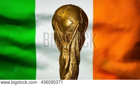 October 6, 2021, Dublin, Ireland. Fifa World Cup Against The Background Of The Flag Of Ireland.
