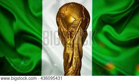 October 6, 2021, Abuja, Nigeria. Fifa World Cup On The Background Of The Flag Of Nigeria.