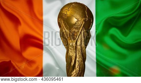 October 6, 2021, Abidjan, Côte D'ivoire. Fifa World Cup In Front Of The Flag Of Cote D'ivoire.