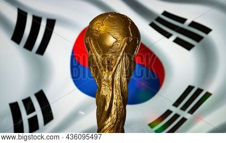 October 6, 2021, Seoul, South Korea. Fifa World Cup On The Background Of The Flag Of The Republic Of