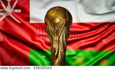 October 6, 2021, Muscat, Oman. Fifa World Cup On The Background Of The Flag Of Oman.