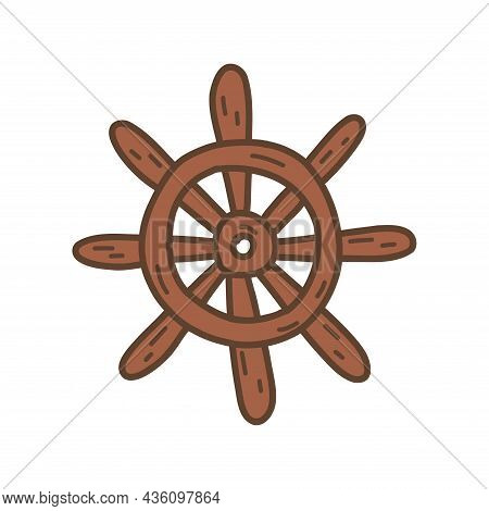 Steering Wheel Of The Ship. Wooden Rudder, Antique Equipment. Colorful Vector Isolated Illustration