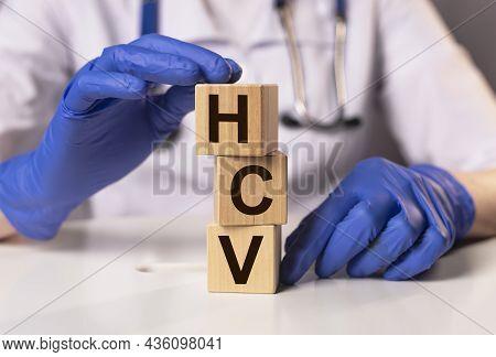 Hcv Acronym For Medical Test. Word On Cubes.