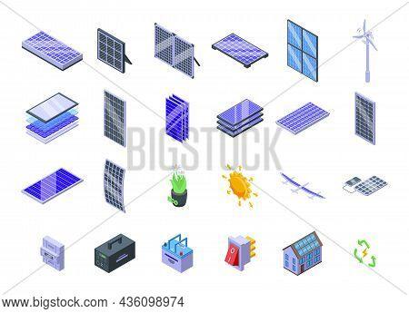 Solar Panels Icons Set Isometric Vector. Solar Inverter, Battery Energy