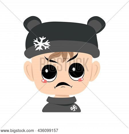 Child With Angry Emotions, Grumpy Face, Furious Eyes In Bear Hat With Snowflake. Head Of Cute Child