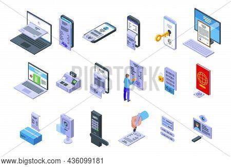 Handwriting Identification Icons Set Isometric Vector. Access Approve. Biometric Authentication