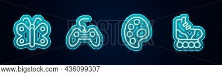 Set Line Butterfly, Gamepad, Palette And Roller Skate. Glowing Neon Icon. Vector