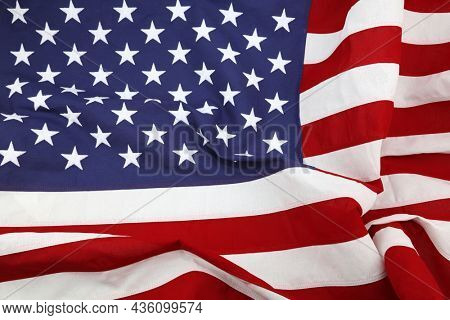 Close-up of rippled American flag