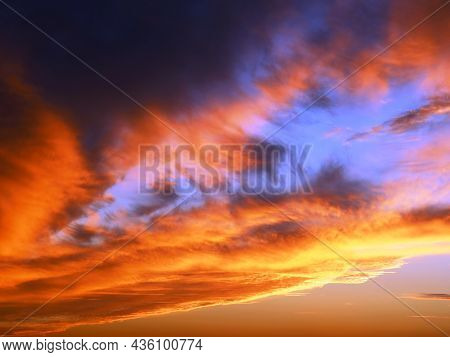 Beautiful Evening Sky In Bright Colors Of Torn Clouds, Beauty In The Nature Of Sunset Heavenly Space