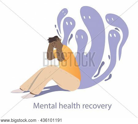 Panic Attacks Concept. Man Surrounded By His Inner Fears. Character Trying To Get Rid Of Mental And