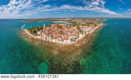 Drone Panorama Over The Croatian Coastal Town Novigrad With Harbor And Promenade Taken From The Sea