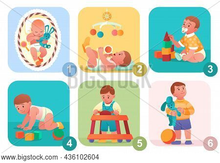 Baby Growth Process. From Newborn To Preschooler. Little Boy Becomes Adult. Stages Of Child Developm