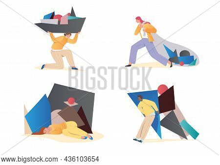Set Of Sad And Tired People. Men And Women With Lot Of Problem. Characters Carry Bag Of Tasks And Ig