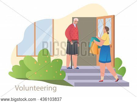Volunteering And Helping Seniors Concept. Young Woman Bought Groceries And Brought Them To Elderly G