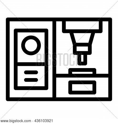 Cnc Machine Plant Icon Outline Vector. Work Tool. Laser Lathe