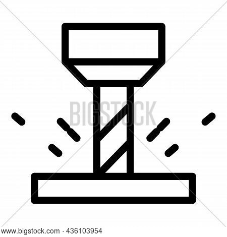 Modern Cnc Machine Icon Outline Vector. Steel Factory. Metal Plant