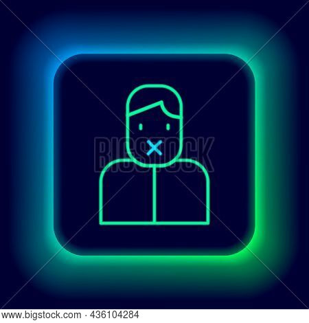 Glowing Neon Line Censor And Freedom Of Speech Concept Icon Isolated On Black Background. Media Pris