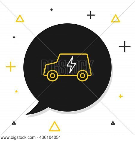 Line Electric Car And Electrical Cable Plug Charging Icon Isolated On White Background. Renewable Ec