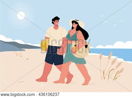 Romantic Trip For A Couple In Love, Walking Along The Beach And Holding Hands.couple On Vacation.