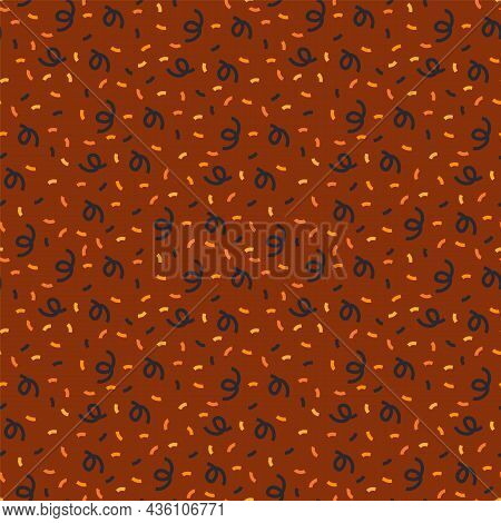 Background With A Festive Pattern Of Dark Orange Color For Halloween. Holiday Doodle Pattern With Co