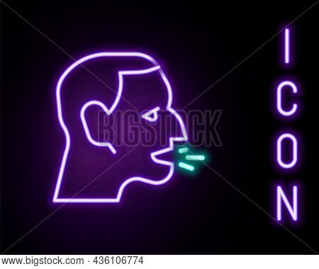 Glowing Neon Line Man Coughing Icon Isolated On Black Background. Viral Infection, Influenza, Flu, C