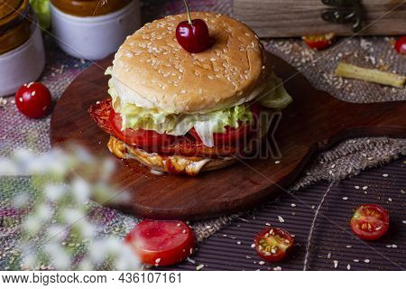 Juicy Chicken Grill Burger, Hamburger Or Cheeseburger With One Chicken Patties, With Sauce. Concept