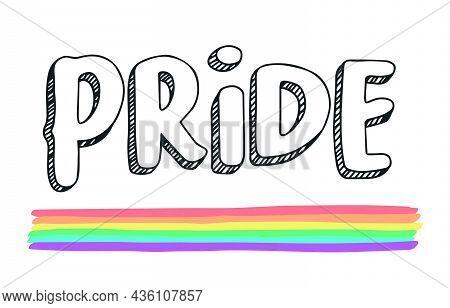 Lgbtqia+ Colorful Pride Illustration Raibown. Fully Editable.