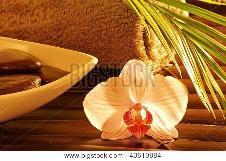 Brown massage stones ,orchid,palm leaf on soft towel. poster