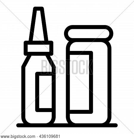 Medical Inject Icon Outline Vector. Vaccine Injection. Syringe Dose